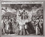 The martyrdom of Julius Palmer, John Gwin and Thomas Askin at Newbury, illustration from 'Foxes Martyrs' c.1703 (litho)