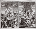 The burning of Agnes Potten & Joan Trunchfield at Ipswich and The burning of C. lyster, J. Mace, J. Spencer, S. Joyne, R. Nichols & J. Hammond at Colchester, illustration from 'Foxes Martyrs' c.1703 (litho)