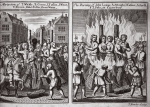 The martyrdom of T. Whittle, B. Green, J. Tutson, J. Went, T. Brown, Isabel Foster & Joan Warne and The burning of John Lomas, A. Albright, J. Catmer, A. Smoth & J. Sole in Canterbury, illustration from 'Foxes Martyrs' c.1703 (litho)