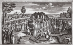 The burning of martyrs, illustration from 'Foxes Martyrs' c.1703 (litho)