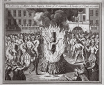 The burning of Master John Rogers, Vicar of St Sepulchers & Reader of St Pauls in London, illustration from 'Foxes Martyrs' c.1703 (litho)