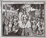The burning of John Hooper at Gloucester, illustration from 'Foxes Martyrs' c.1703 (litho)