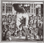 The martyrdom of John Laurence at Colchester, illustration from 'Foxes Martyrs' c.1703 (litho)