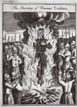 The burning of Thomas Tomkins, illustration from 'Foxes Martyrs' c.1703 (litho)