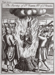 The burning of Dr Farrar, Bishop of St. Davids, illustration from 'Foxes Martyrs' c.1703 (litho)