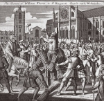 The burning of William Flower in St. Margarets Churchyard, Westminster, illustration from 'Foxes Martyrs' c.1703 (litho)