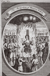 The martyrdom of Margery Polley, illustration from 'Foxes Martyrs' c.1703 (litho)