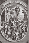 The martyrdom of Dirick Carver, illustration from 'Foxes Martyrs' c.1703 (litho)