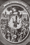 The martyrdom of Thomas Iveson, illustration from 'Foxes Martyrs' c.1703 (litho)