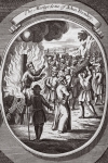 The martyrdom of John Denley, illustration from 'Foxes Martyrs' c.1703 (litho)