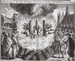 The burning of Wm Coker, Wm Hopper, H. Lawrence, R. Colliar, R. Wright & Wm Stere at Canterbury, illustration from 'Foxes Martyrs' c.1703 (litho)