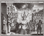 The martyrdom of Mr Robert Samuel, Minister of Barfold in Suffolk, illustration from 'Foxes Martyrs' c.1703 (litho)