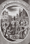 The martyrdom of W. Wolsey & R. Pygot at Ely, illustration from 'Foxes Martyrs' c.1703 (litho)