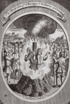 The martyrdom of C. Bungey & R. Glover at Coventry, illustration from 'Foxes Martyrs' c.1703 (litho)