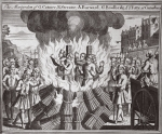 The martyrdom of G. Catmer, R. Streater, A. Burward, G. Brodbridg & J. Tutty at Canterbury, illustration from 'Foxes Martyrs' c.1703 (litho)