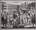 The martyrdom of Mr John Bradford and John Leaf in Smithfield, illustration from 'Foxes Martyrs' c.1703 (litho)
