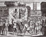 The burning of four martyrs in Canterbury, illustration from 'Foxes Martyrs' c.1703 (litho)