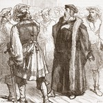 Calvin before his enemies in the Council, illustration from 'The History of Protestantism' by James Aitken Wylie (1808-1890), pub. 1878 (engraving)