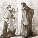 Cardinal Sadoleto visits Calvin, illustration from 'The History of Protestantism' by James Aitken Wylie (1808-1890), pub. 1878 (engraving)