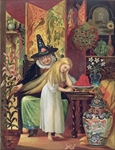 The Old Witch combing Gerda's hair with a golden comb to cause her to forget her friend, in 'The Snow Queen', from Hans Christian Andersen's Fairy Tales, 1872 (colour litho)