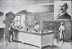 Kitchen of The White House in the 1890s, with inset portrait of Hugo Ziemann (litho)