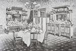 Family dining room of The White House in the 1890s, Washington D.C., United States of America (litho)