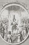The Martyrdom of Margeret Polley at Tunbridge, from 'The Burning of the Martyrs', published 1741 (litho)