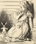 The White Rabbit is late, from 'Alice's Adventures in Wonderland' by Lewis Carroll, published 1891 (litho)