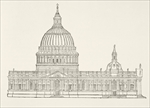 Christopher Wren's first design for the new St. Paul's Cathedral after the Great Fire of London, from 'The National and Domestic History of England' by William Hickman Smith Aubrey (1858-1916) published London, c.1890 (litho)