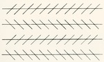 The Zöllner illusion. Parallel lines crossed by another short row of lines inclined at an angle will appear to slant in the direction in which the lines are falling. Tilting the lower edge of the page upwards will enhance the illusion. From The Strand Magazine, published 1897.