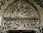 Tympanum depicting (top) an exorcism and (below) the Presentation in the Temple, 13th century (stone)