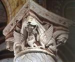 Monster devouring a human, column capital (stone)
