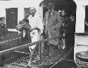 Mahatma Gandhi arriving at Folkestone in 1931.