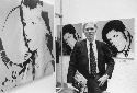 Warhol at the opening of his 1978 ica exhibition