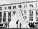 A tepee set up outside the Bureau of Indian...