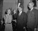 Margaret Chase Smith is shown being sworn into...