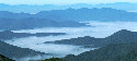 Scenic vista of misty hills from the Blue...