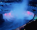 Horseshoe Falls lit up at night