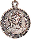 Rosary medal showing Jesus wearing the crown of...
