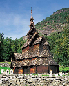 Traditional stave church in Sogne Fjord.