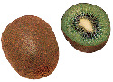 The kiwi fruit has a fuzzy, greenish-brown skin a...