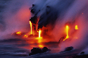 Oceanic lava 					 					Steam mixes with surf as...