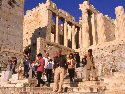 Tourists on the steps of the Propylaea, the...