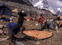 Trekkers pitching their tents at Everest Base Camp