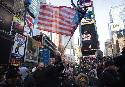 A diverse gathering in Times Square, New York...