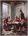 Writing the Declaration of Independence in 1776,...