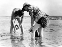 Researchers Rachel Carson and Bob Hines at work...