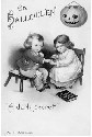 This Ellen Clapsaddle postcard shows two children...