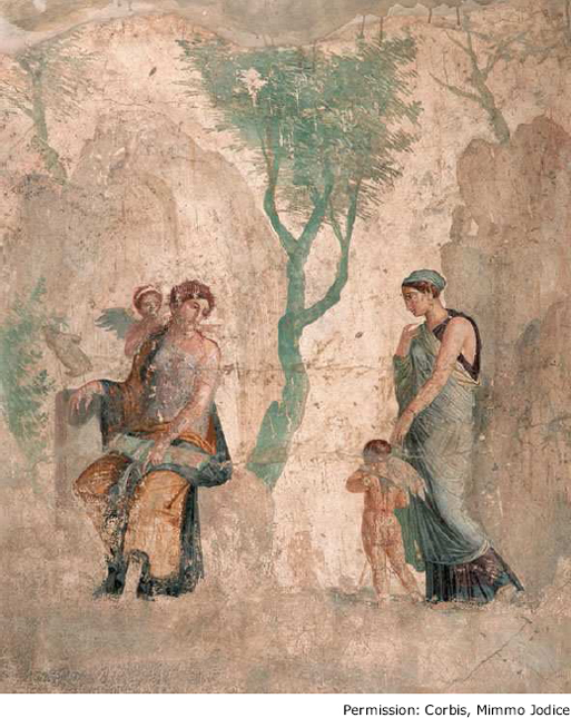 This Roman fresco, referred to as Punishment of Eros, was uncovered from  the ruins of a villa in Pompeii. It shows Eros (Cupid) as the winged child  on the ...