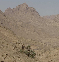 The jagged Sinai Mountains are arid and bare,...